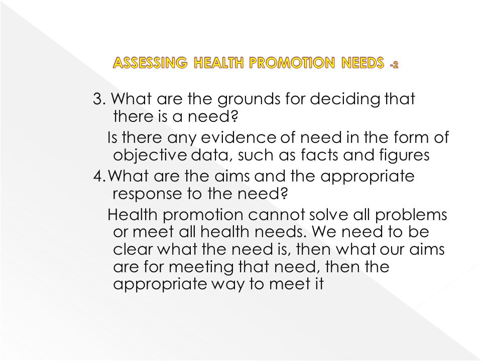 ASSESSING HEALTH PROMOTION NEEDS -2