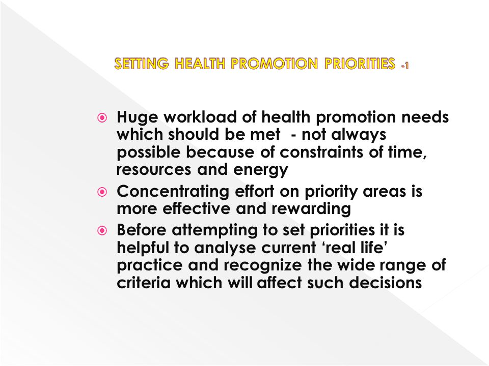 SETTING HEALTH PROMOTION PRIORITIES -1