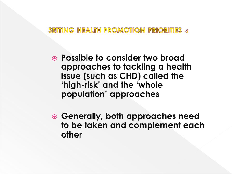 SETTING HEALTH PROMOTION PRIORITIES -2