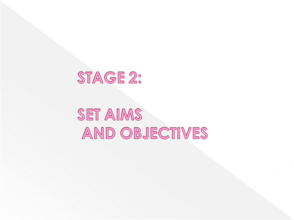 STAGE 2: SET AIMS AND OBJECTIVES