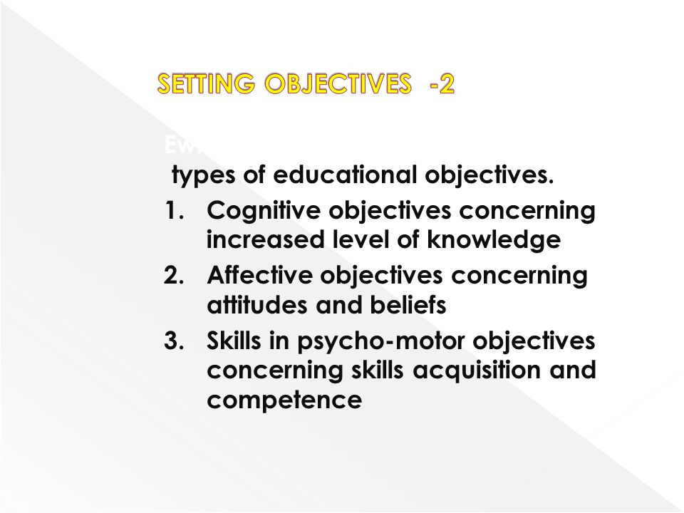 SETTING OBJECTIVES -2