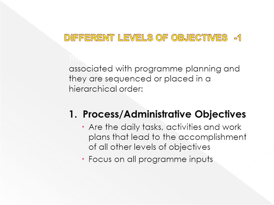 DIFFERENT LEVELS OF OBJECTIVES -1