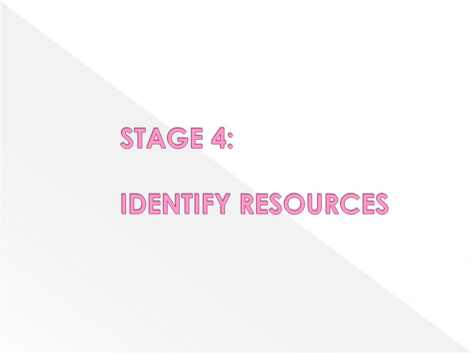 STAGE 4: IDENTIFY RESOURCES