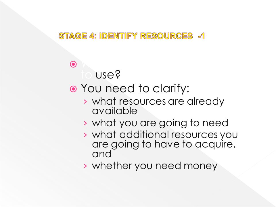 STAGE 4: IDENTIFY RESOURCES -1