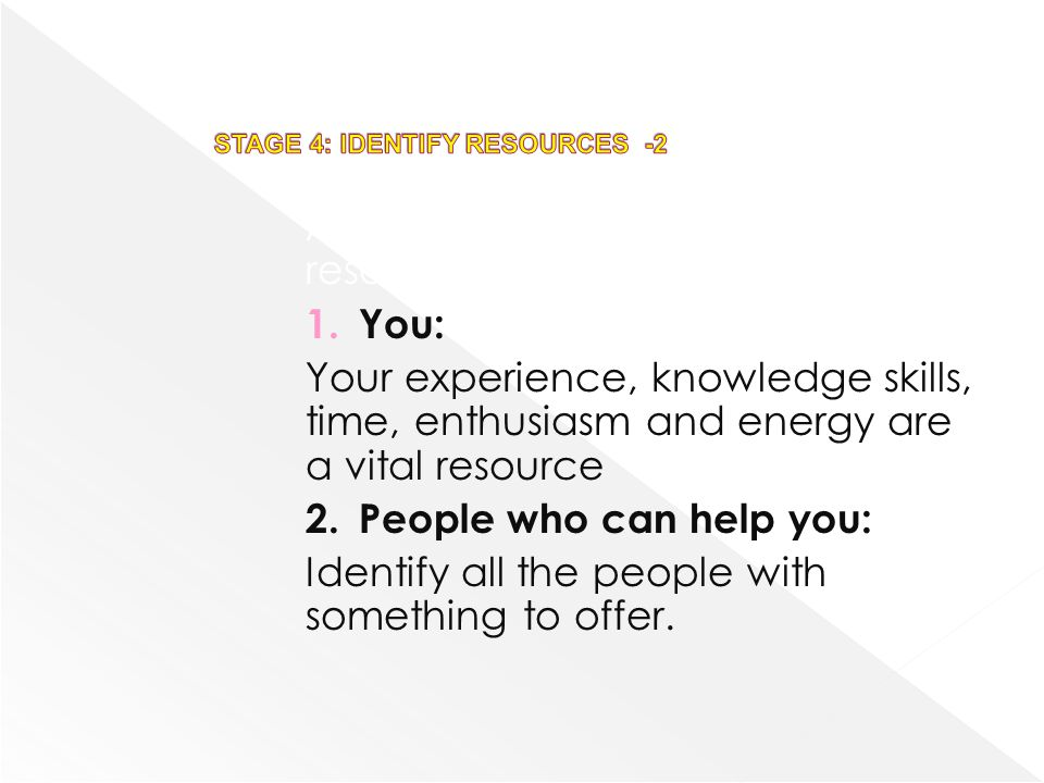 STAGE 4: IDENTIFY RESOURCES -2