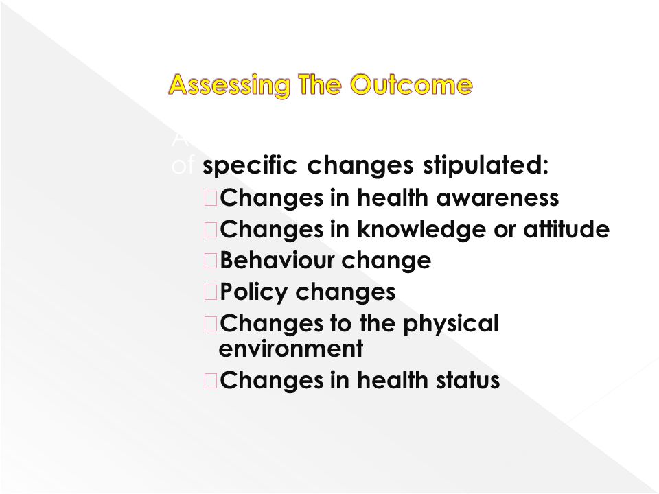Assessing The Outcome Achievement of objectives in terms of specific changes stipulated: Changes in health awareness.