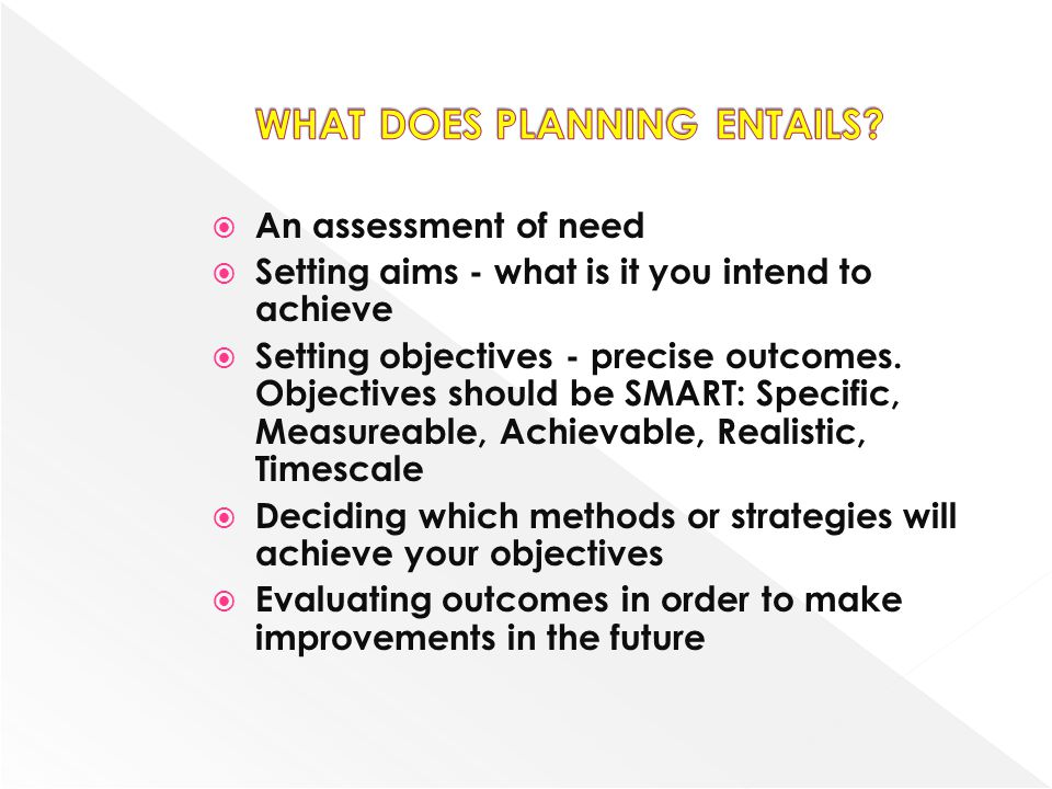 WHAT DOES PLANNING ENTAILS