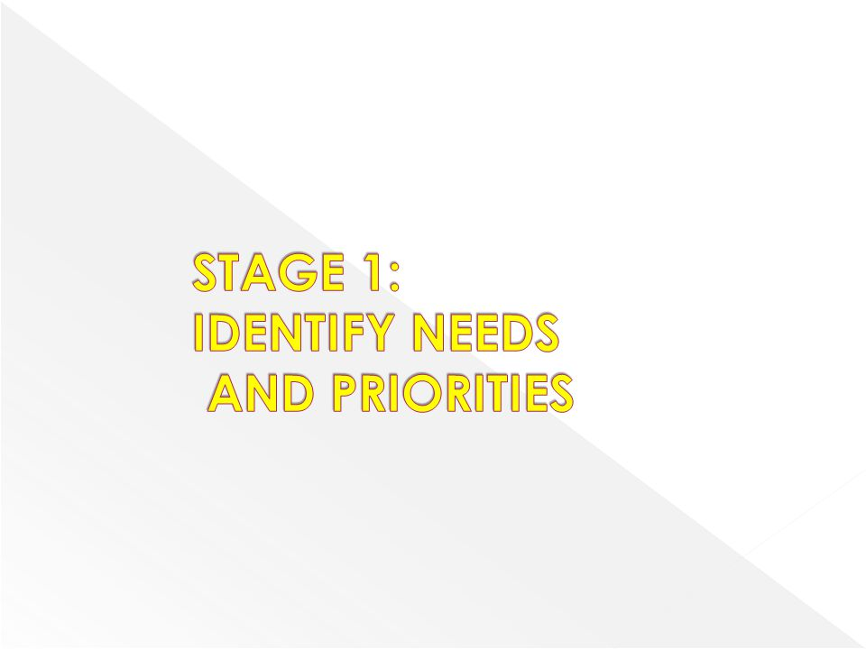 STAGE 1: IDENTIFY NEEDS AND PRIORITIES