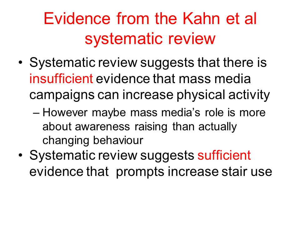 Evidence from the Kahn et al systematic review