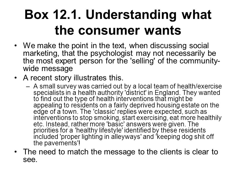 Box 12.1. Understanding what the consumer wants