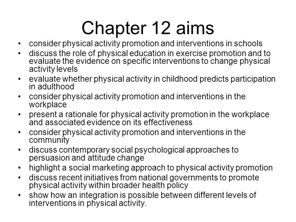 Chapter 12 aims consider physical activity promotion and interventions in schools.