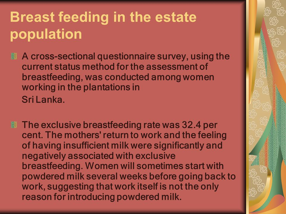 Breast feeding in the estate population