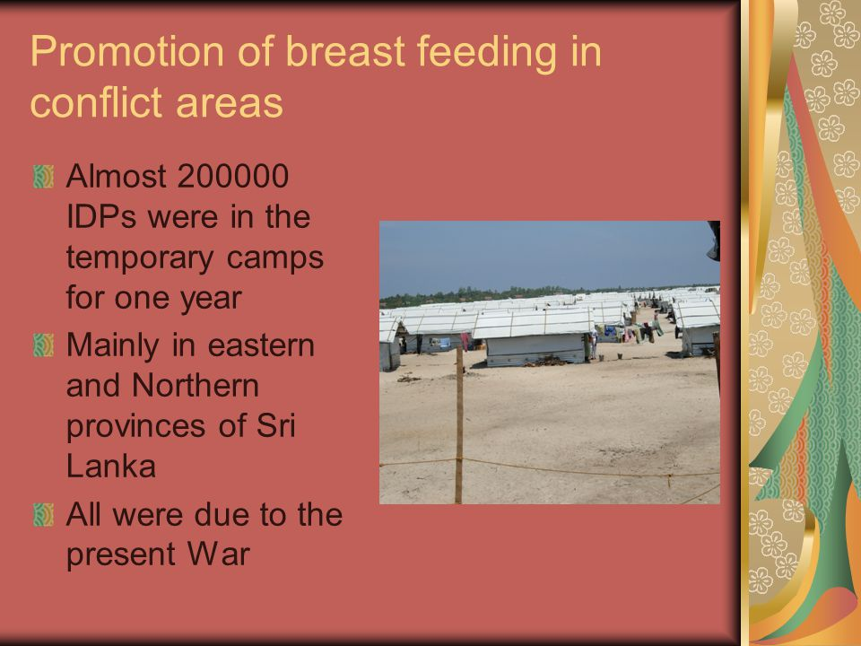 Promotion of breast feeding in conflict areas
