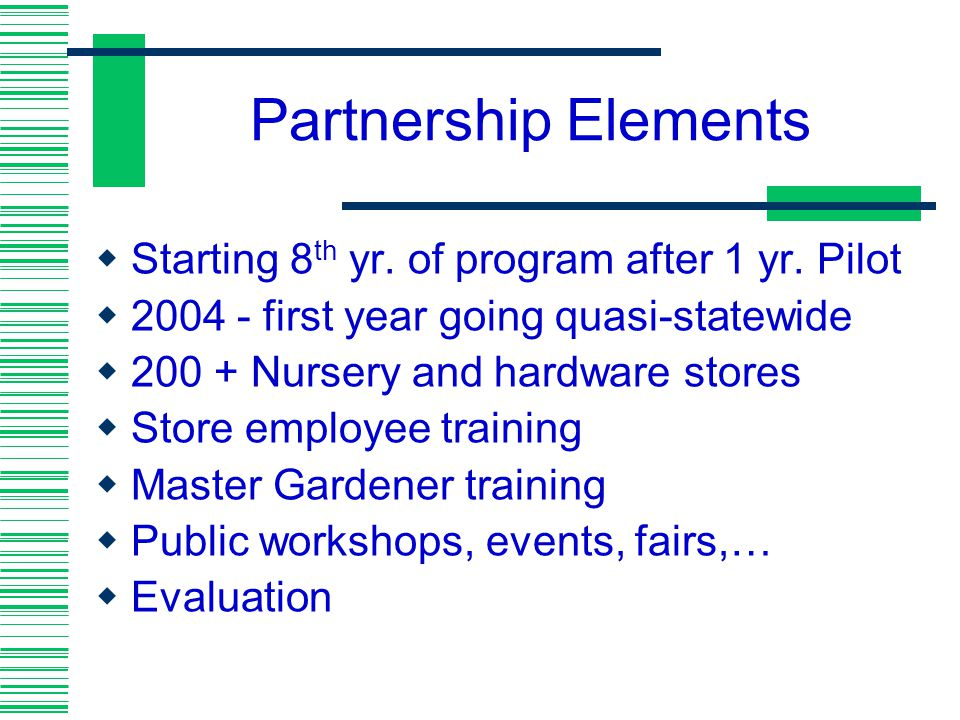 Partnership Elements Starting 8th yr. of program after 1 yr. Pilot