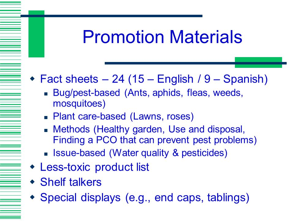 Promotion Materials Fact sheets – 24 (15 – English / 9 – Spanish)