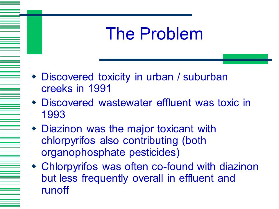 The Problem Discovered toxicity in urban / suburban creeks in 1991