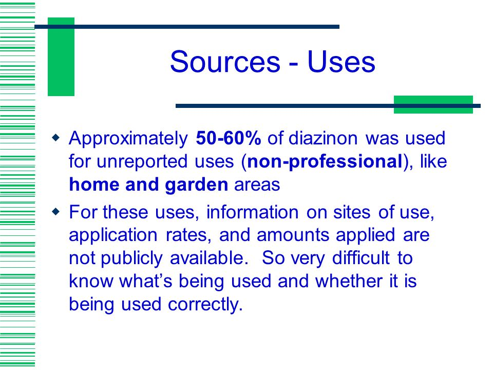 Sources - Uses Approximately 50-60% of diazinon was used for unreported uses (non-professional), like home and garden areas.