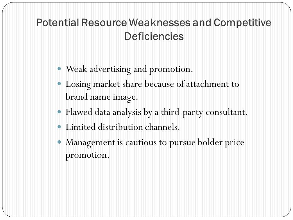 Potential Resource Weaknesses and Competitive Deficiencies