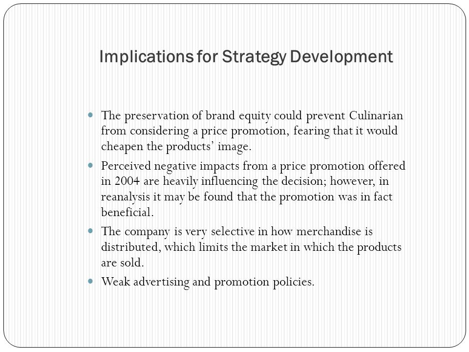 Implications for Strategy Development
