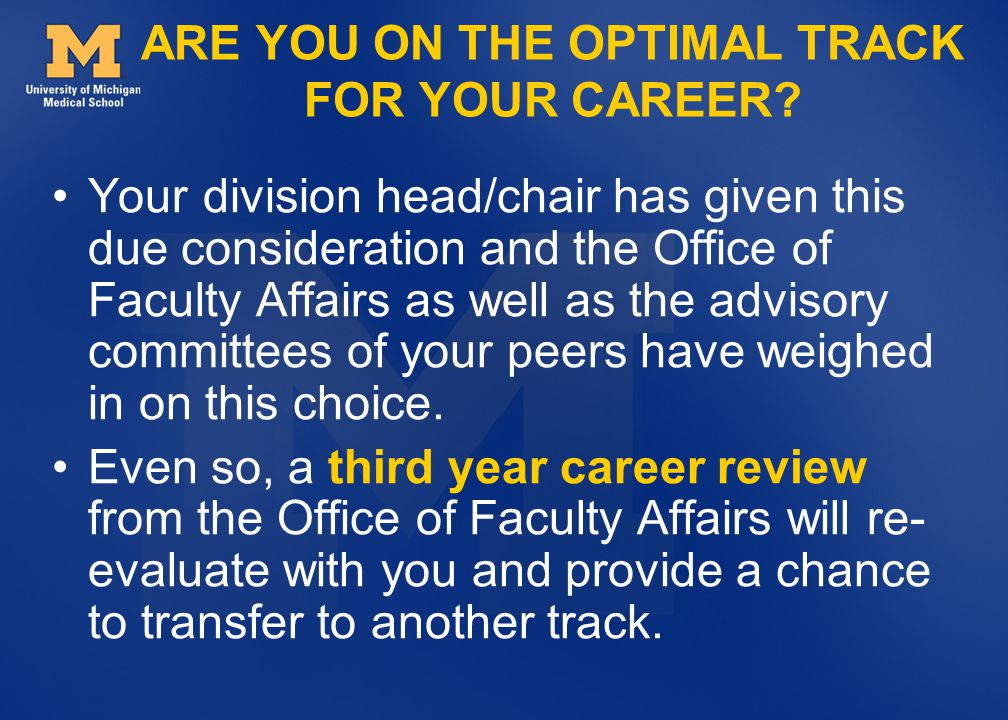 ARE YOU ON THE OPTIMAL TRACK FOR YOUR CAREER