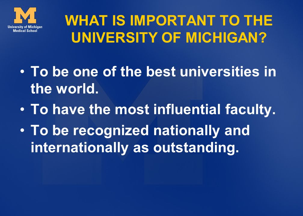 WHAT IS IMPORTANT TO THE UNIVERSITY OF MICHIGAN