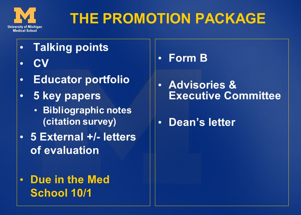 THE PROMOTION PACKAGE Talking points Form B CV Educator portfolio