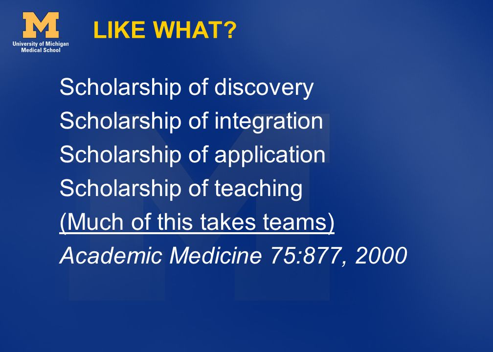 LIKE WHAT Scholarship of discovery. Scholarship of integration. Scholarship of application. Scholarship of teaching.