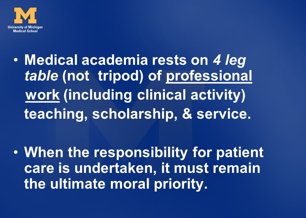 Medical academia rests on 4 leg table (not tripod) of professional
