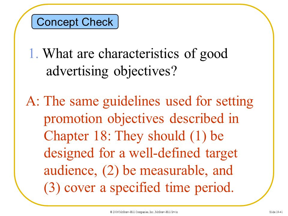 1. What are characteristics of good advertising objectives