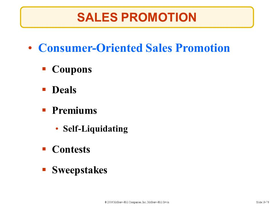 Consumer-Oriented Sales Promotion