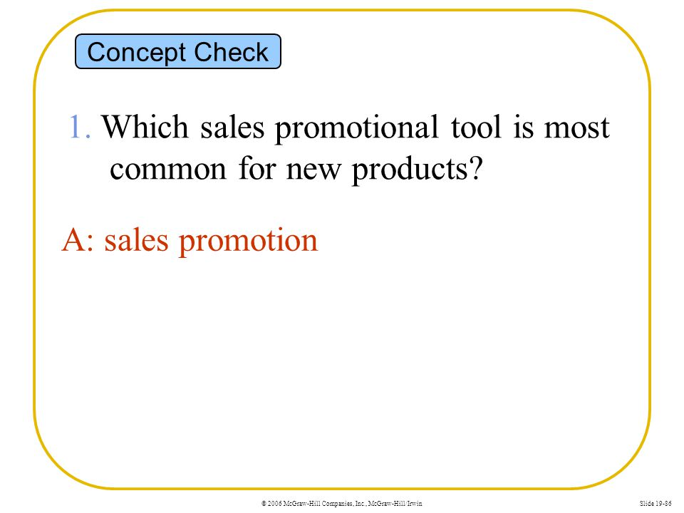 1. Which sales promotional tool is most common for new products