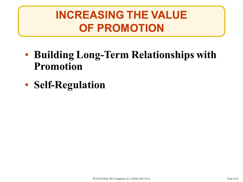 INCREASING THE VALUE OF PROMOTION