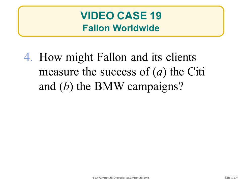 VIDEO CASE 19 Fallon Worldwide. 4. How might Fallon and its clients measure the success of (a) the Citi and (b) the BMW campaigns