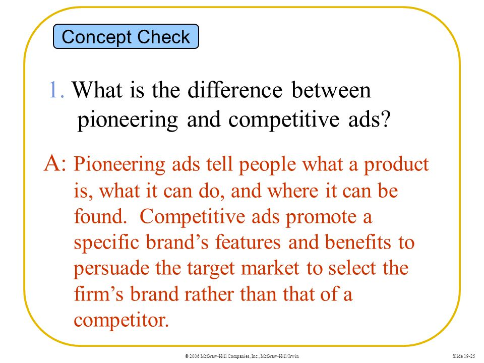 1. What is the difference between pioneering and competitive ads