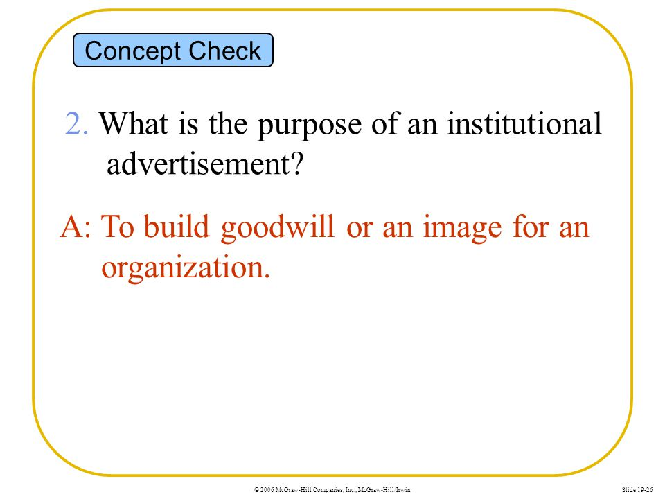 2. What is the purpose of an institutional advertisement