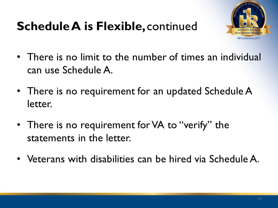 Schedule A is Flexible, continued