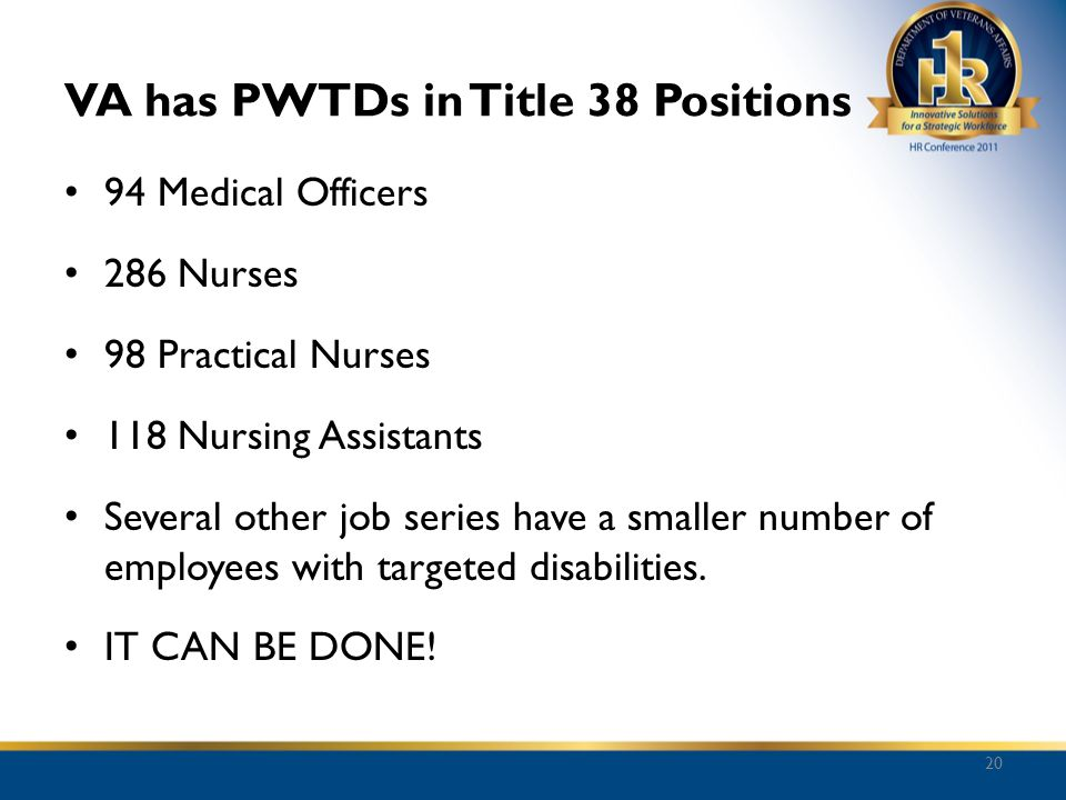 VA has PWTDs in Title 38 Positions