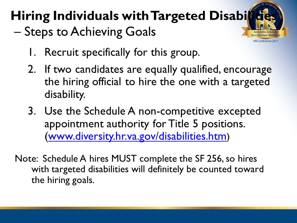 Hiring Individuals with Targeted Disabilities – Steps to Achieving Goals