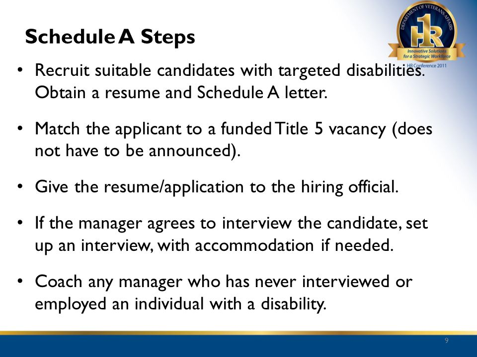 Schedule A Steps Recruit suitable candidates with targeted disabilities. Obtain a resume and Schedule A letter.