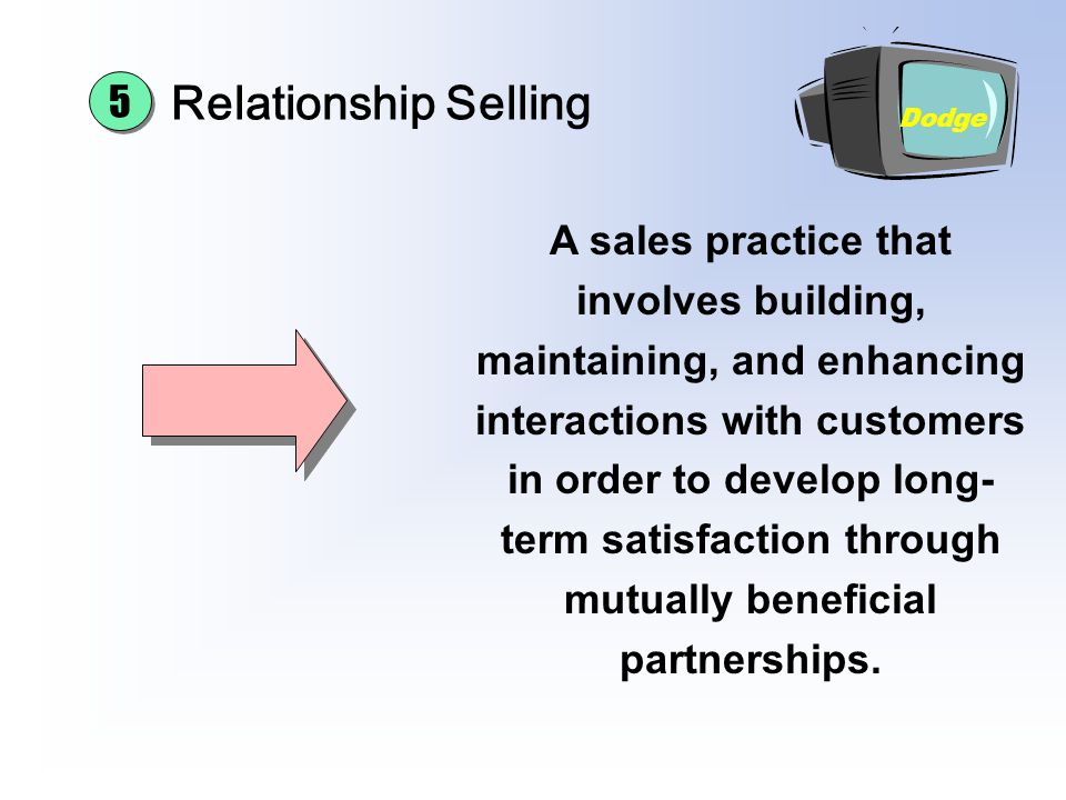 Chapter 16 Sales Promotion and Personal Selling. Relationship Selling. 5. Dodge.