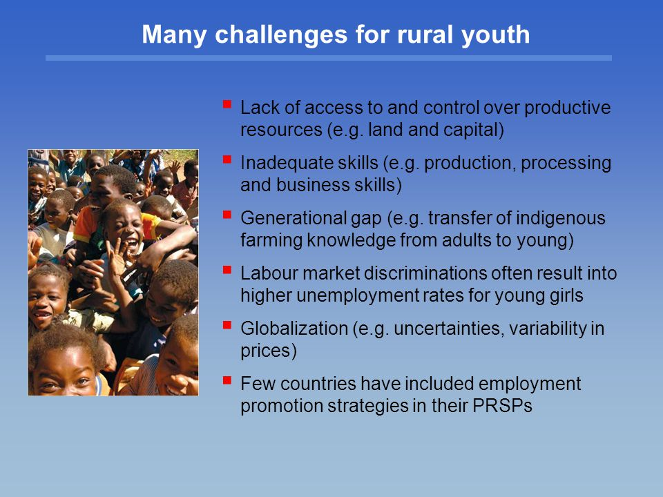 Many challenges for rural youth