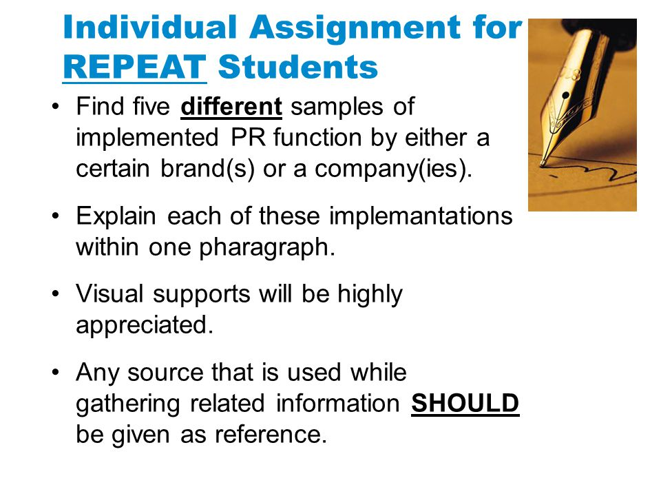 Individual Assignment for REPEAT Students