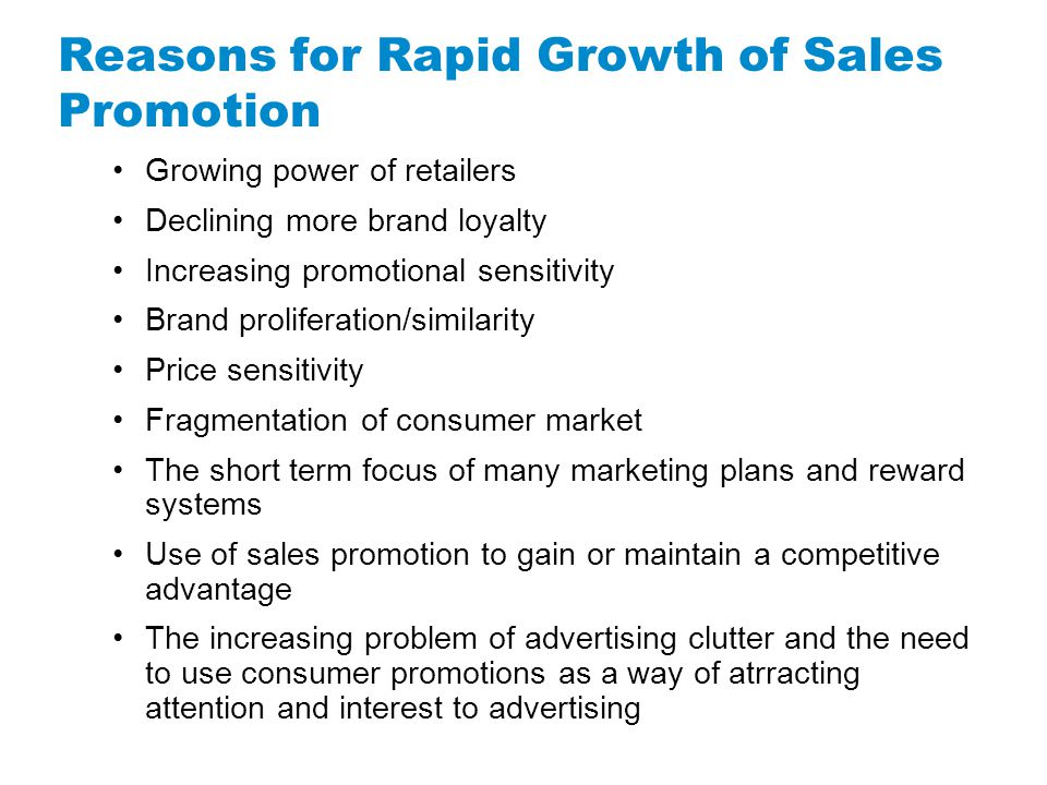 Reasons for Rapid Growth of Sales Promotion