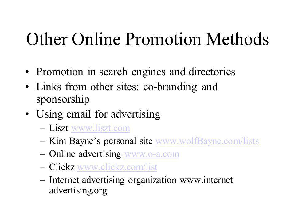 Other Online Promotion Methods