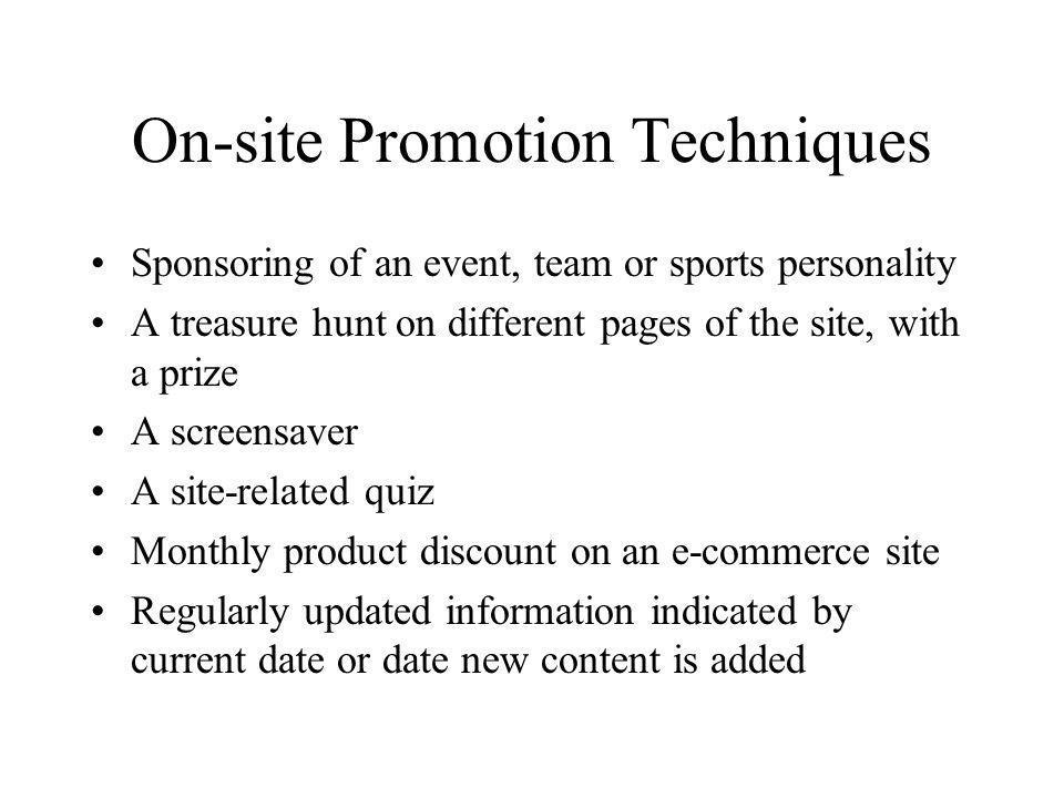 On-site Promotion Techniques