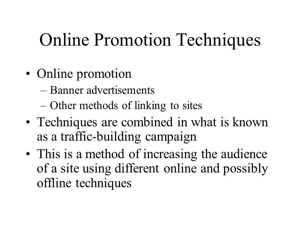 Online Promotion Techniques