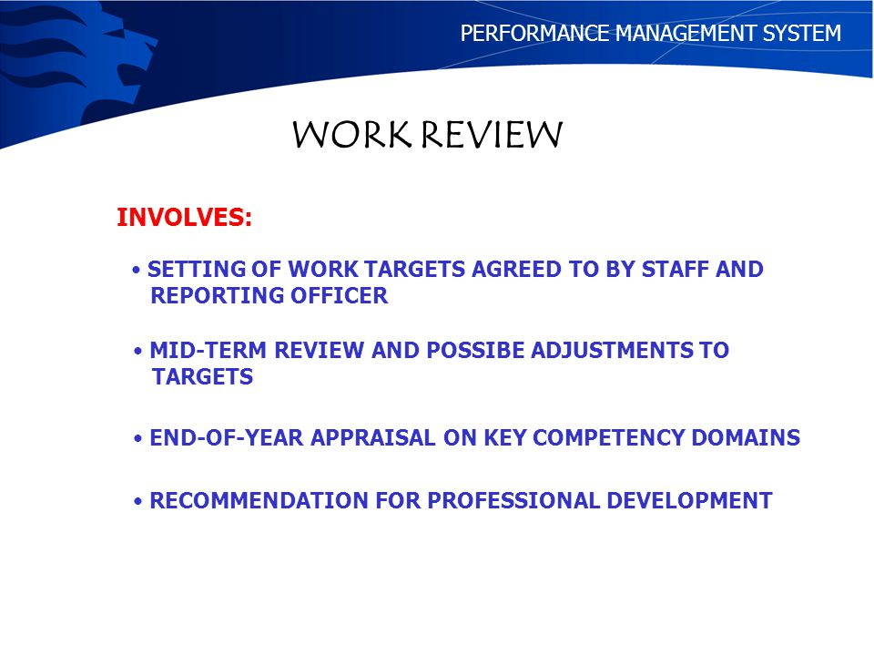 WORK REVIEW INVOLVES: PERFORMANCE MANAGEMENT SYSTEM