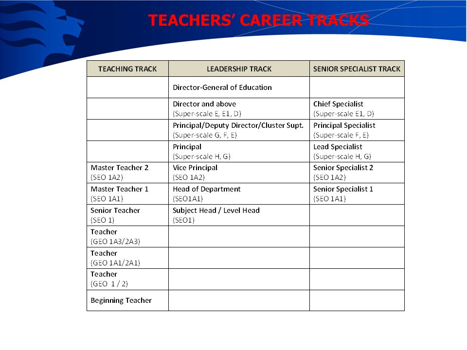 TEACHERS' CAREER TRACKS