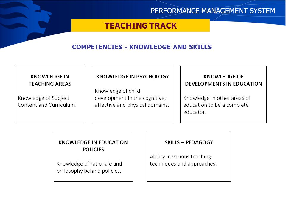 COMPETENCIES - KNOWLEDGE AND SKILLS