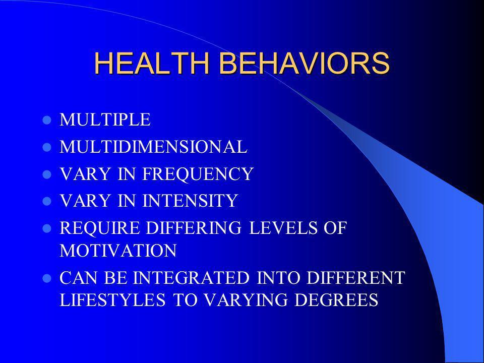HEALTH BEHAVIORS MULTIPLE MULTIDIMENSIONAL VARY IN FREQUENCY